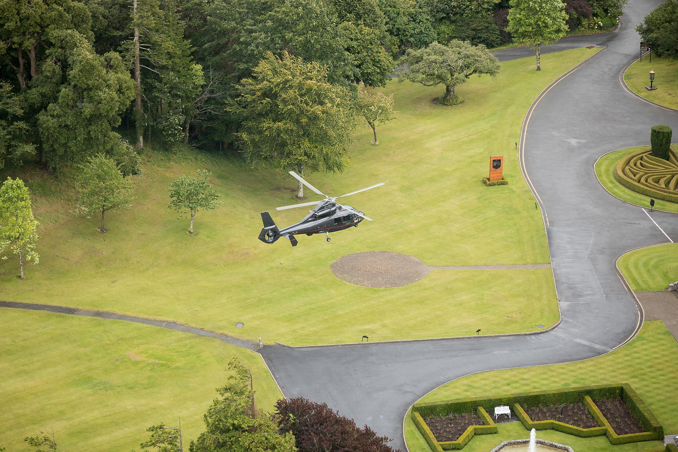 Dromoland Castle Helipad approach private charter clients