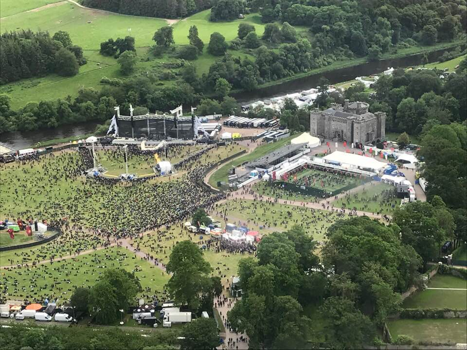 Slane Castle live rock concert festival, helicopter arrival
